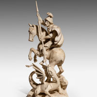 Antique St. George and the Dragon wood carving