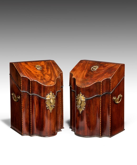 Antique pair of Georgian knife boxes