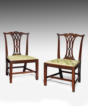 Pair of Georgian mahogany dining chairs.