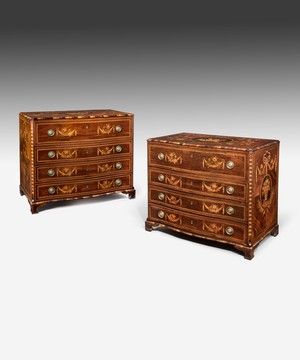 Pair Spanish 18th Century marquetry commodes