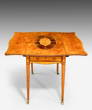 Georgian Sheraton period satinwood and marquetry pembroke table.
