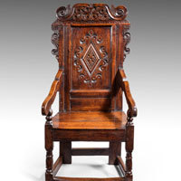 Antique seventeenth century oak armchair