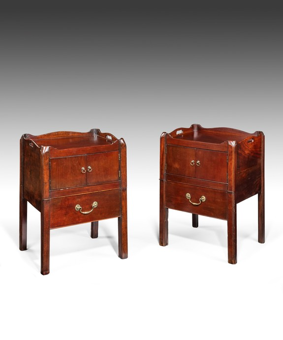 Antique Pair of Georgian tray top commodes