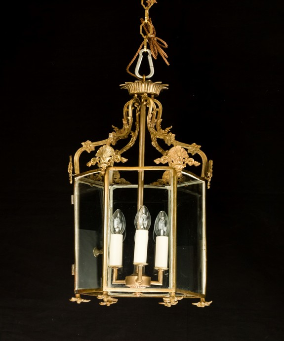 Antique neo-classical brass lantern.