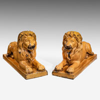 Pair of lions in saltglaze