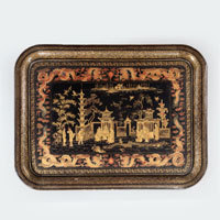 Antique set of Chinese lacquer trays.