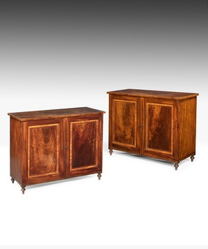 Georgian pair of mahogany cabinets by Gillows, Lancaster.