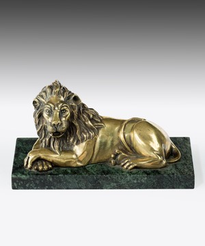 Brass lion sculpture from the Nineteenth Century.