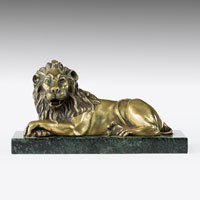 Brass lion sculpture.