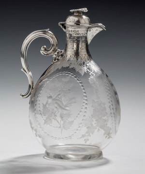 Claret Jug in silver and glass by W. and G. Sissons.