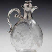 Claret Jug in silver and glass