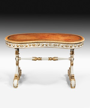 William IV Writing Table With Carved Giltwood And Ivory Paintwork