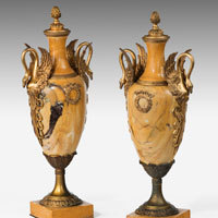 Pair of marble and ormolu vases