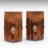 Pair of Georgian mahogany knife boxes.