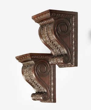 Pair Regency carved pine wall brackets.