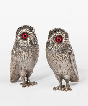 Pair Victorian Silver Owl Peppers.