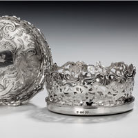 Pair Victorian silver wine coasters
