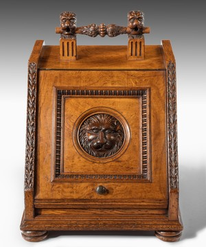 Victorian carved oak coal box.