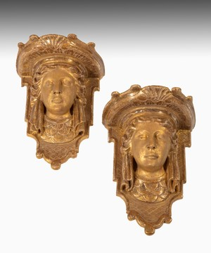 Pair George I Palladian carved giltwood wall brackets.