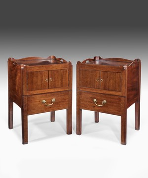 Pair of Georgian mahogany tray top commodes.