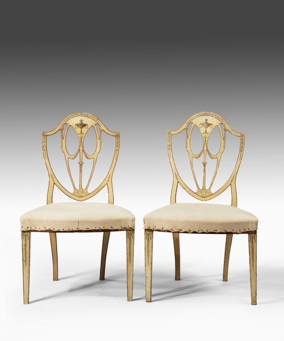 Pair Sheraton painted chairs