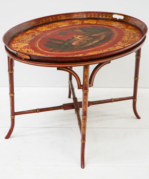 Antique toleware coffee table.