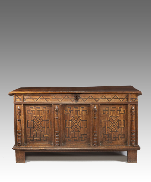 Charles I oak coffer with carving and inlay.