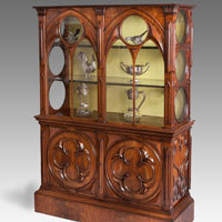 Antique display cabinet in gothic style