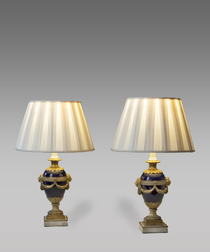 Pair of  table lamps in blue porcelain and ormolu.