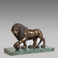 Antique medici lion bronze sculpture
