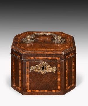 Georgian Chippendale tea caddy of octagonal form.
