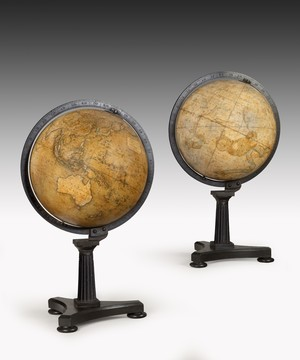 Pair of antique desk globes by Newton.
