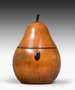 Antique pear fruit tea caddy.