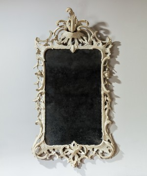 Chippendale period white painted mirror in the rococo style
