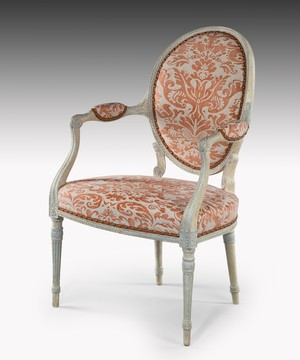 Georgian Adam period painted salon armchair