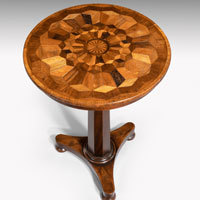 Regency tripod table with specimen wood inlay top