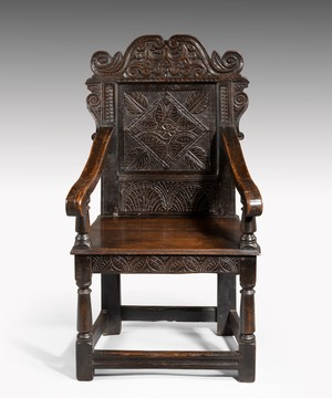 Charles II Yorkshire carved oak wainscot armchair