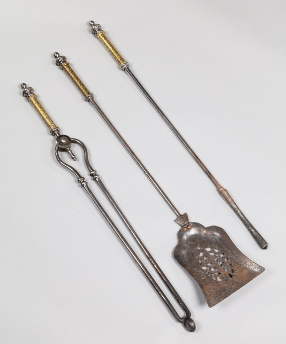 Antique set of fire tools in brass and steel.