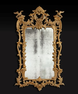 Georgian Chippendale giltwood mirror in the Rococo taste