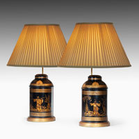 Pair of Nineteenth Century toleware table lamps.