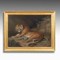 Tiger and Leopard Regency sand paintings by Zobel