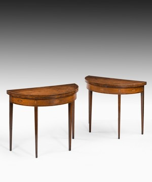 Pair of Georgian Hepplewhite period mahogany card tables.
