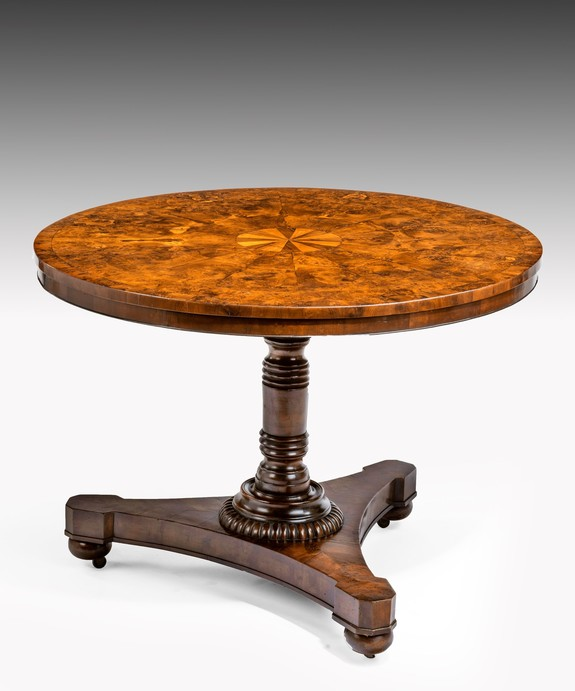 Antique centre table in burr yew