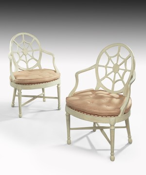 Pair of Chippendale period painted armchairs.