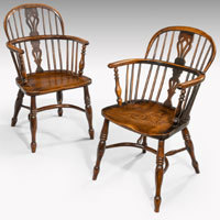 Set of four antique windsor armchairs