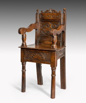 Seventeenth Century carved oak child's chair