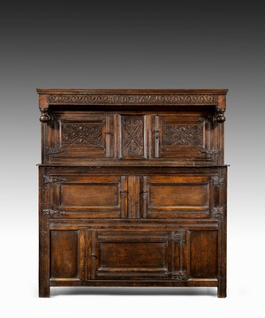 Late Seventeenth Century William and Mary Westmorland carved oak court cupboard
