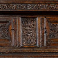 Antique William and Mary carved oak court cupboard from Westmorland