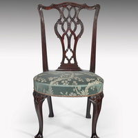 Antique George II carved mahogany side chair