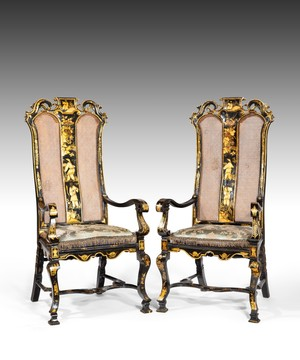 Pair of William and Mary japanned and lacquered armchairs.